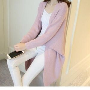 Sweaters - Pink Open Front Batwing Cardigan